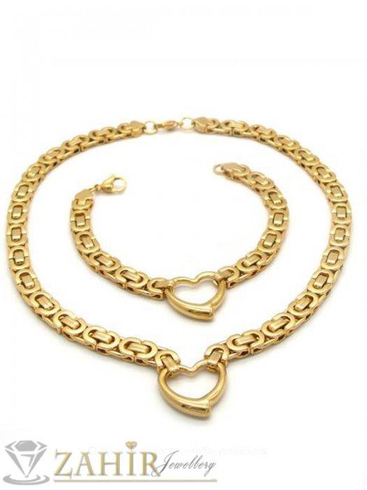 Дамски бижута - Великолепен позлатен стоманен комплект със сърца и римска плетка, ланец и гривна в 4 размера - KO2016