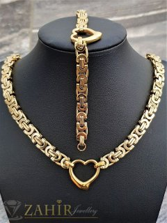 Великолепен позлатен стоманен комплект със сърца и римска плетка, ланец и гривна в 4 размера - KO2016