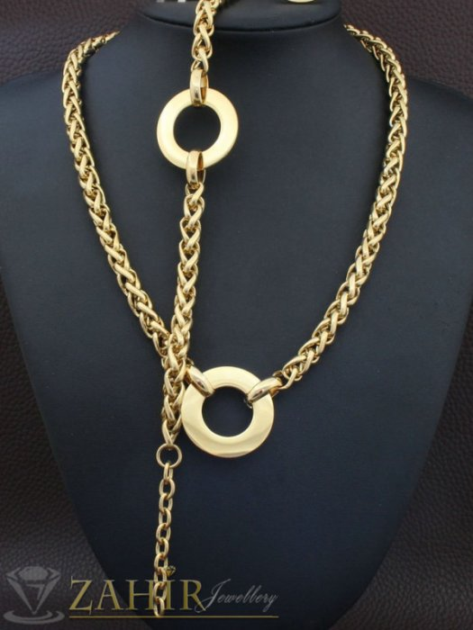 Ефектен стоманен ланец и гривна в 4 размера с рингове 3 см, позлатена стомана, ширина 0,6 - KO2020
