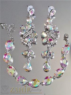Неустоим комплект с фасетирани хамелеон кристали, обеци 9 см и регулираща се гривна, сребристи - KO2023