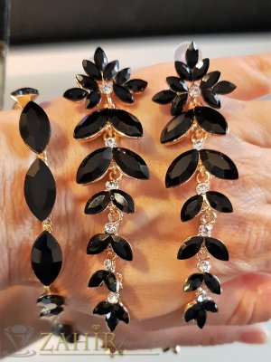 Черен кристален комплект с фасетирани циркони, обеци 9 см на винт и регулираща се гривна  - KO2038