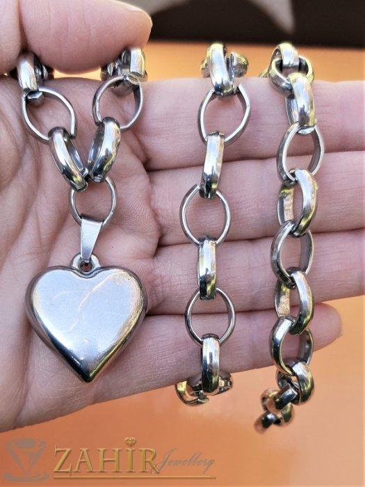 Полирано стоманено сърце 2,5 см на комплект от неръждаема стомана, колие и гривна в 4 размера - KO2040