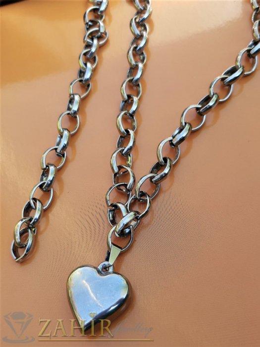 Дамски бижута - Полирано стоманено сърце 2,5 см на комплект от неръждаема стомана, колие и гривна в 4 размера - KO2040