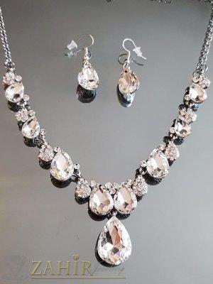 Великолепие от бели кристали на регулиращо се колие с висулка 4 см и обеци 3,5 см, сребристи - KO2047