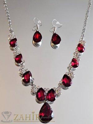 Контраст от червени и бели кристали на регулиращо се колие с висулка 4 см и обеци 3,5 см, сребристи - KO2049