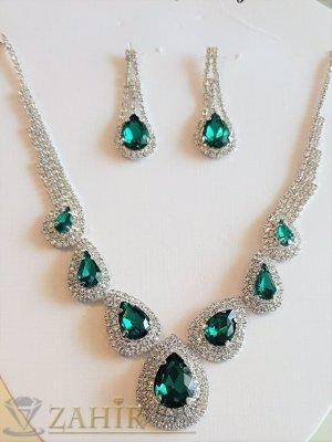 Луксозен блестящ официален комплект с бели и зелени кристали, обеци 4 см, и регулиращо се колие - KO2050