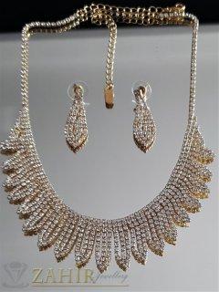 Луксозен фин златист комплект, регулиращо се колие до 55 см и обеци 3,5 см - KO2057