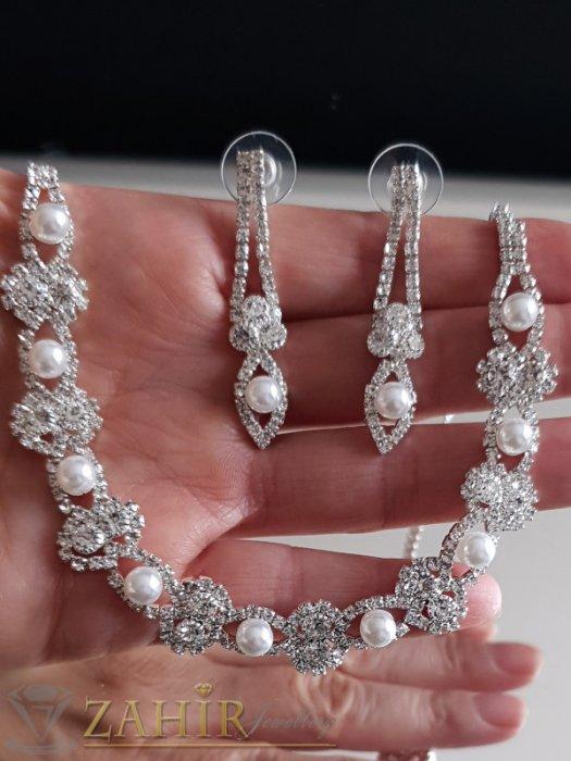 Феерия от бели кристали и перли на сребрист комплект, обеци 4,5 см и регулиращо се колие до 44 см - KO2062
