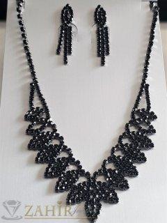Много нежен ефирен черен комплект с черни кристали,обеци 3, 5 см и регулиращо се до 45 см колие - KO2063