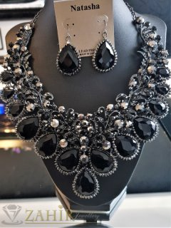 Дизайнерски луксозен  комплект с черни и графитени кристали, обеци 5 см и регулиращо се колие, виси 9 см - KO2067