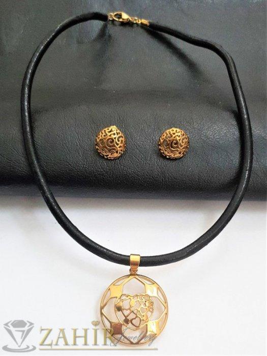 Дамски бижута - Бутиков комплект от черна кожена каишка в 3 размера с висулка 3 см и обеци 1,5 см, стомана - KO2068