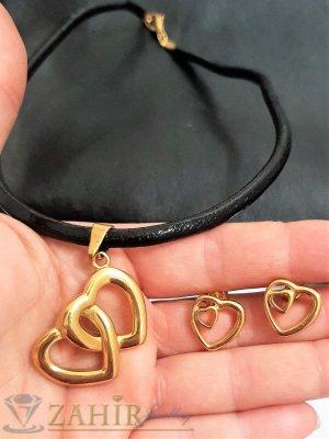 Най-желания комплект със сърца от черна кожена каишка в 3 размера с висулка 3 см и обеци 1,5 см, стомана - KO2069