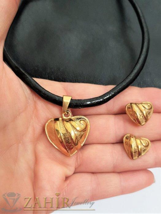 Хитов комплект със сърца от черна кожена каишка в 3 размера с висулка 2,5 см и обеци 1,5 см, стомана - KO2070