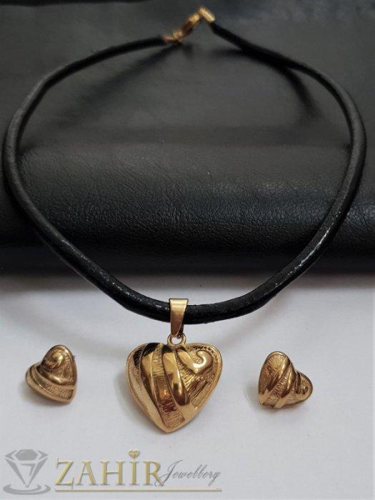 Дамски бижута - Хитов комплект със сърца от черна кожена каишка в 3 размера с висулка 2,5 см и обеци 1,5 см, стомана - KO2070