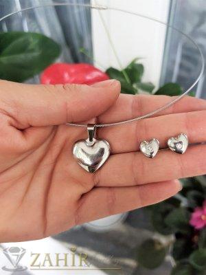 Романтичен комплект със сърца на обръч стандартен размер, висулка 2 см и обеци 1 см от неръждаема стомана - KO2072