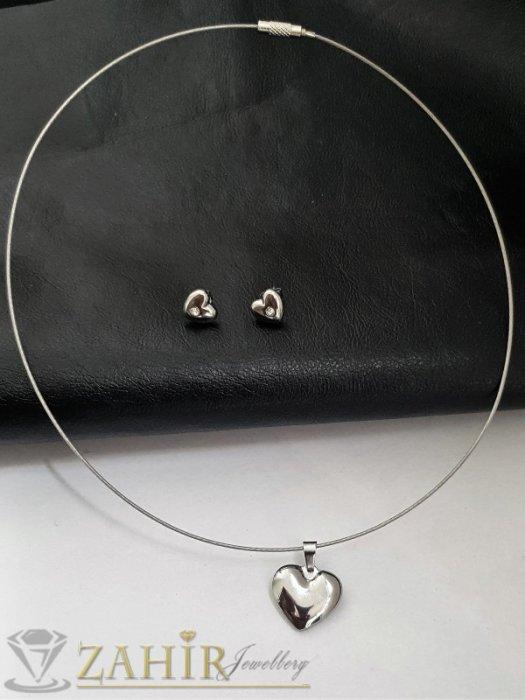 Дамски бижута - Романтичен комплект със сърца на обръч стандартен размер, висулка 2 см и обеци 1 см от неръждаема стомана - KO2072