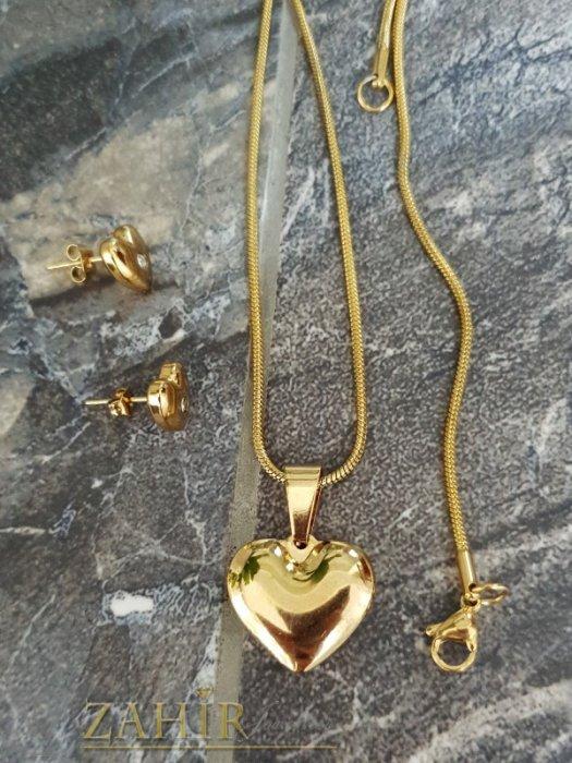 Дамски бижута - Хит комплект с позлатени стоманени сърца, колие 45 см с висулка 2 см и обеци на винт 1 см - KO2073
