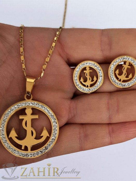 Дамски бижута - Единична бройка стоманен комплект , медальон с кристални котви 3 см на колие 53 см и обеци 1,8 см, на винт - KO2079