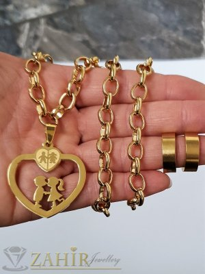 Романтичен стоманен комплект , медальон сърце с влюбени 3,5 см на колие в 4 размераи обеци халки 2 см - KO2080