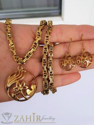 Възхитителен стоманен комлект, ланец в 4 дължини с красив медальон 3 см и висящи обеци 3 см - KO2086