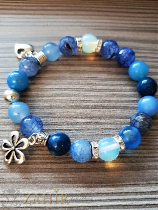 Приливаща синя гривна от естествен ахат 8 мм и лунен камък със сребристи висулки - MGA1538