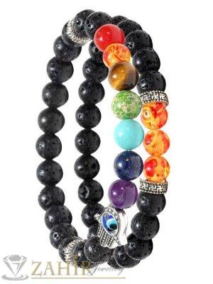 Изящна двойна чакра гривна със 7 чакра цветни ахат камъни, Хамса и лава камъни 8 мм, 7 размера - MGA1548