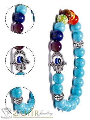 Балансираща чакрите гривна със 7 минерала с лечебни свойства и Хамса ,син тюркоаз 8 мм, 7 размера - MGA1550