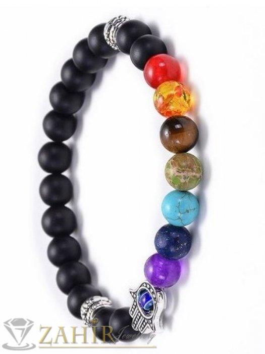 Йога чакра гривна, направена от черен оникс мат и Хамса + 7 цветни чакра минерала, налична в 7 размера - MGA1551