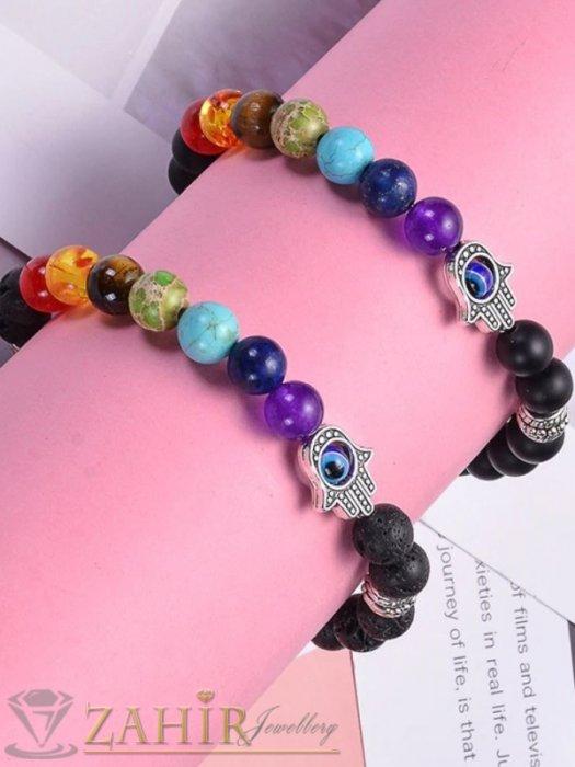 Дамски бижута - Йога чакра гривна, направена от черен оникс мат и Хамса + 7 цветни чакра минерала, налична в 7 размера - MGA1551