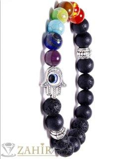 Супер чакра гривна, 7 цветни чакра минерала, Хамса и черен лава камък 8 мм, 7 различни дължини - MGA1552