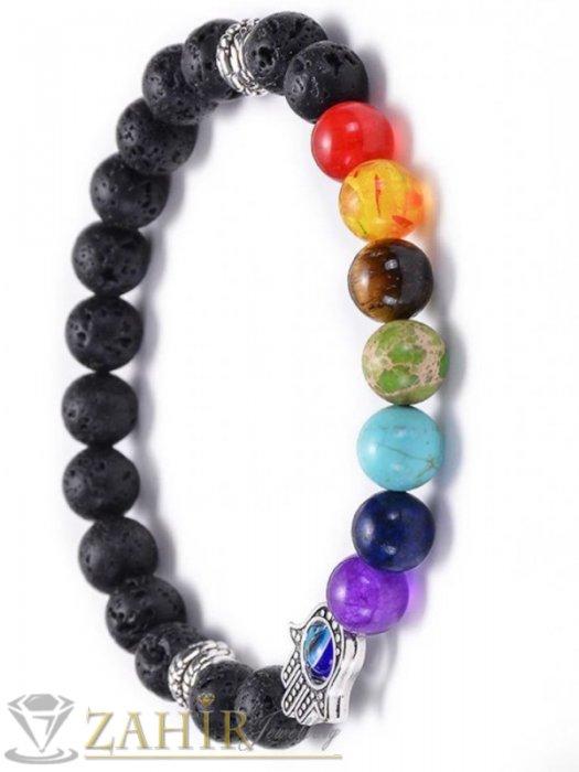 Дамски бижута - Супер чакра гривна, 7 цветни чакра минерала, Хамса и черен лава камък 8 мм, 7 различни дължини - MGA1552