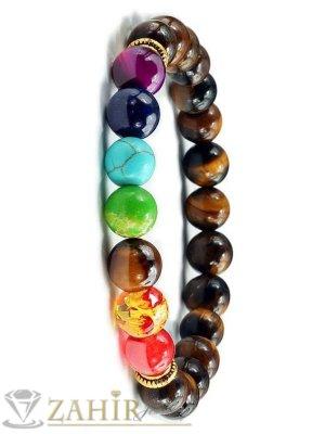 Йога чакра гривна, 7 цветни чакра минерала и ествествен камък  ахат 8 мм в над 10 цвята, 7 различни дължини - MGA1553