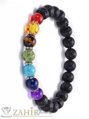 Чакра свежа гривна от лава камъни или черен оникс 8 мм и 7 цветни минерала, налична в 7 размера - MGA1554