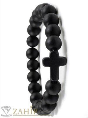 3 модела черна гривна лава, оникс или черен ахат 10 мм със черен кръст, налична в 7 размера - MGA1555