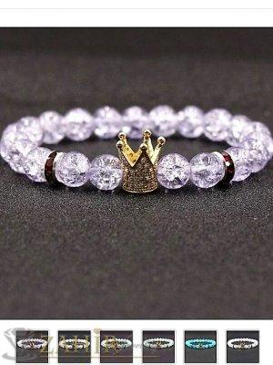 Прозрачен напукан камък 10 мм с 4 цвята кристални корони на гривна в  7 размера - MGA1556