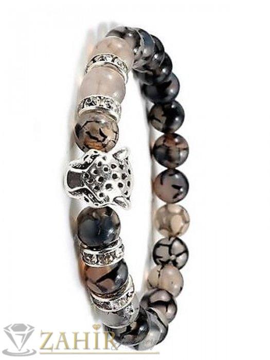 Дамски бижута - Гривна с метална пантера в 2 цвята и рингове, направена от ест. камъни драконови вени 8 мм, 7 размера - MGA1557