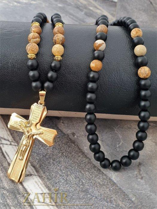 Най-желания стоманен кръст 6 см с молитва и Исус на черно ониксово колие с бежов яспис и оникс 10 mm - MK1363