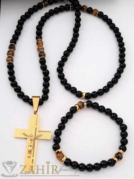 Класика-комплект стоманен кръст с молитва 6 см на черно колие 70 см, камък ахат 8 или 10 мм и гривна - MK1364