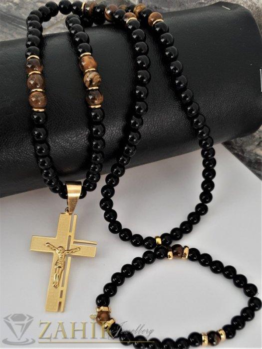 Бижута за мъже - Класика-комплект стоманен кръст с молитва 6 см на черно колие 70 см, камък ахат 8 или 10 мм и гривна - MK1364