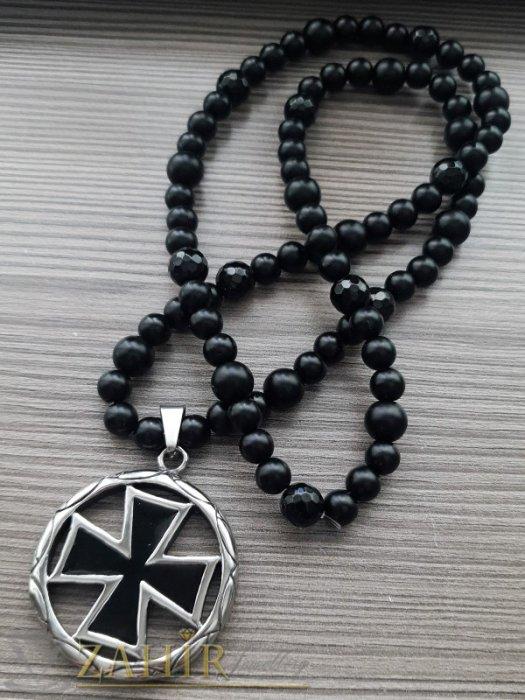 Бижута за мъже - Висококачествен черен малтийски кръст 5 см на черно ониксово колие 70 см, камъни 8 и 10 мм - MK1367