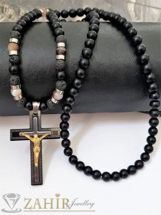 Бижута за мъже - Трипластов стоманен кръст с Исус 6 см на ониксово колие 70 см, лава камъни и стоманени рингове - MK1370