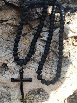 Черна матова ониксова броеница-колие 70 см с висулка черен стоманен кръст 5 см, камъни 8 или 10 мм - MK1377