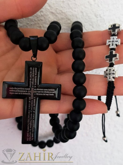 Много едър черен стоманен кръст с молитва 7 на 5 см на колие от 10 мм черен оникс мат, 3 възможни дължини - MK1388