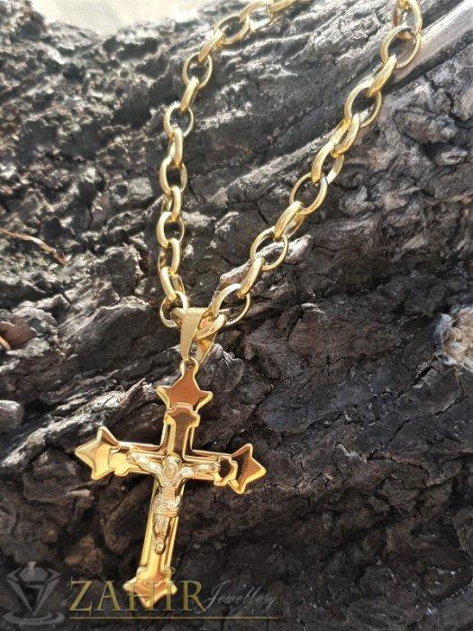 Едър стоманен кръст 7 см с Исус на изчистен ланец в 4 размера , широк 0,7 см, позлатена стомана - ML1486