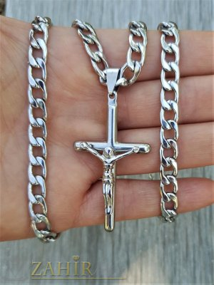 Тънък стоманен кръст 5 см с Исус на класически стоманен ланец 55 см, широк 0,5 см, не променят цвета си - ML1491