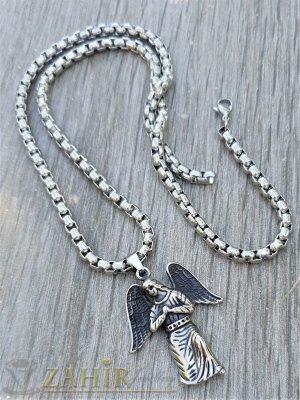 Великолепен стоманен ангел 4 см , високо качество на класически стоманен ланец 60 см, широк 0,4 см - ML1494