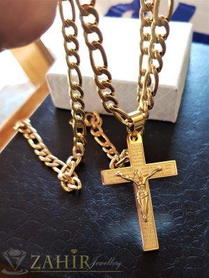 Класически стоманен кръст с молитва 5 см на верижка фигаро плетка дълга 60 см, широка 0,5 см - ML1495