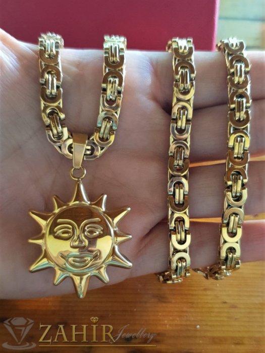 Бижута за мъже - Медальон Слънце 3 см от позлатена стомана, изящна изработка, на римски стоманен ланец 60 см, широк 0,6 см - ML1497