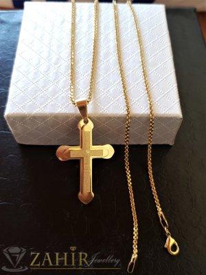 Нежен кръст 3,5 см с написана молитва на тънка верижка 60 см, стомана с позлата - ML1499