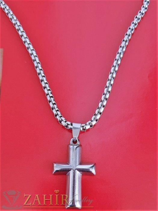 Изчистен полиран стоманен кръст 3,5 см на класическа верижка в 4 дължини, широка 0,4 см, не променят цвета си - ML1503